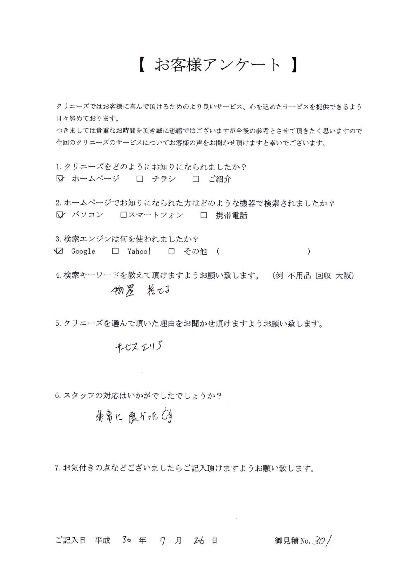 兵庫県川西市での遺品買取アンケート